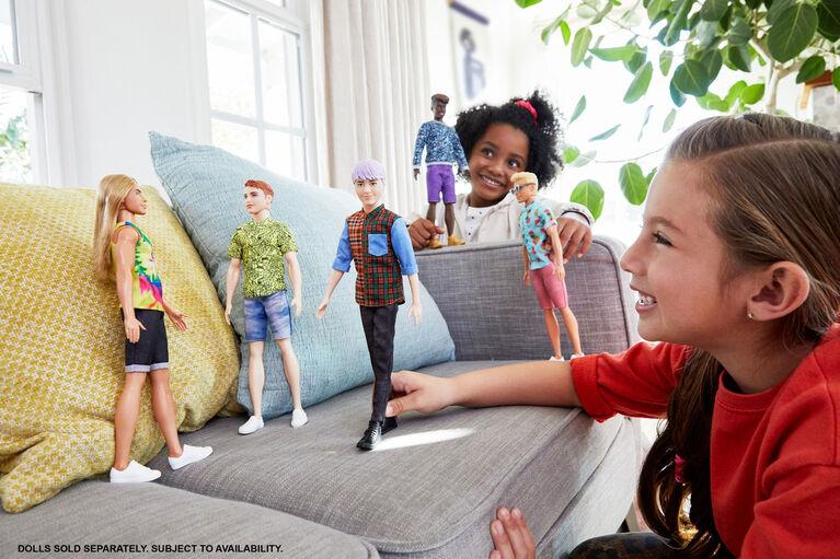 Barbie Ken Fashionistas Doll #154, Sculpted Purple Hair & Plaid Shirt