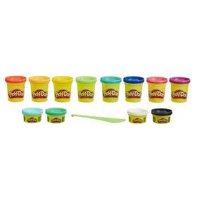 Play-Doh Couleurs flamboyantes, 12 pots de pâte à modeler atoxique