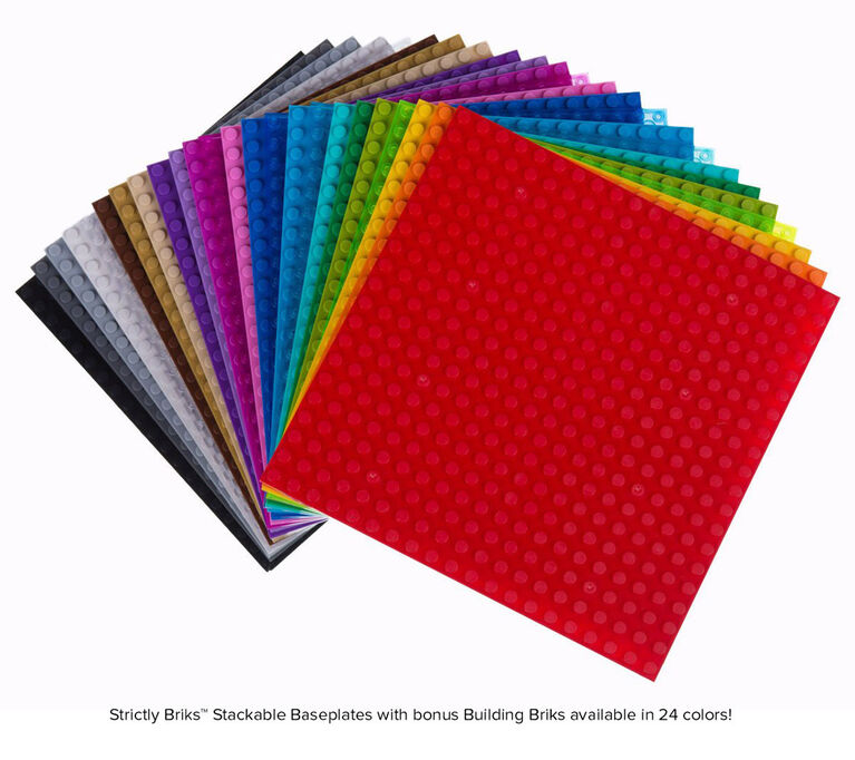 """Strictly Briks - Stackable Baseplates - 6"""" x 6"""" - 20 x 20 pegs - 24 Baseplates - 24 Fun Colours"""