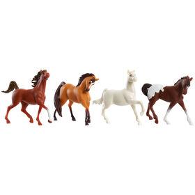 Ensemble de 4 Chevaux DreamWorks Spirit Riding Free A Collectionner