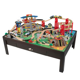 KidKraft - Airport Express Train Set & Table - Espresso