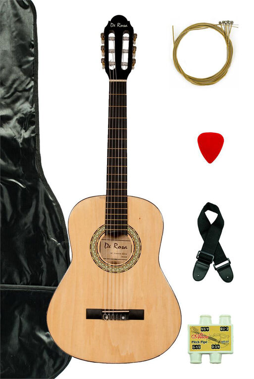 Bridgecraft De Rosa Junior Beginner Guitar with Accessories - Natural