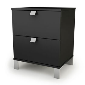 Spark Table de chevet 2 tiroirs- Noir solide