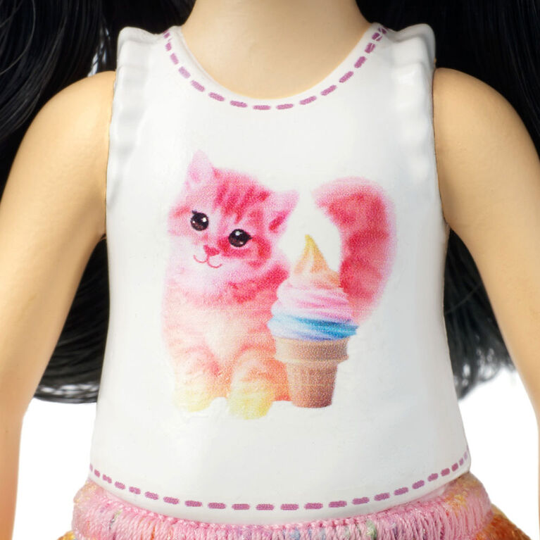 Barbie Club Chelsea Doll, Black Hair With Kitty Top