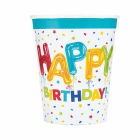 Balloon Birthday 9oz Paper Cups, 8 pieces - English Edition