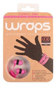 WRAPS - Classic Pink - Casque-bracelet avec rangement anti-enchevêtrement et un câble en tissu tressé rose