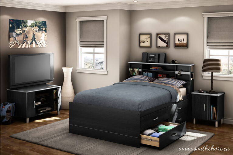 Cosmos Captain Platform Storage Bed with 4 Drawers- Black Onyx