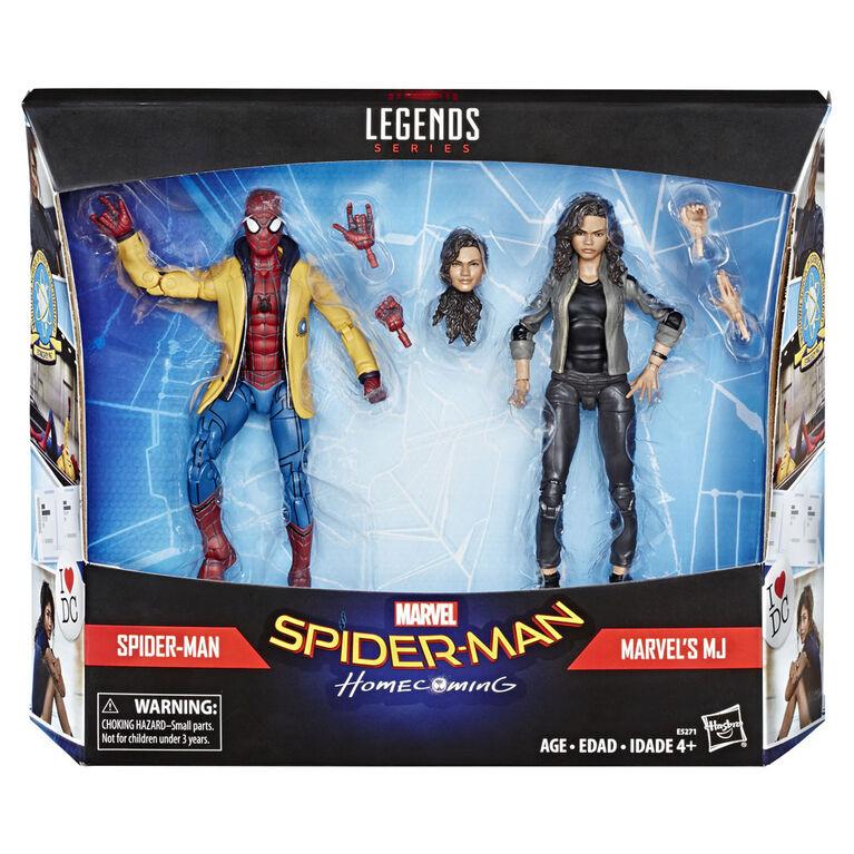 Marvel Spider-Man Série Legends: Les retrouvailles, 2 figurines de collection Spider-Man et Marvel's MJ - Notre Exclusivité