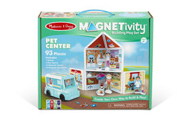 Melissa & Doug 82-Piece MAGNETIVITY Magnetic Building Play Set – Medieval Castle and Pet Center with Rescue Vehicle Play Set