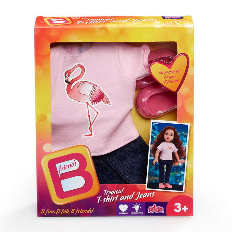 B Friends Tropical T-Shirt and Jeans Fashion Outfit for 18-inch Doll