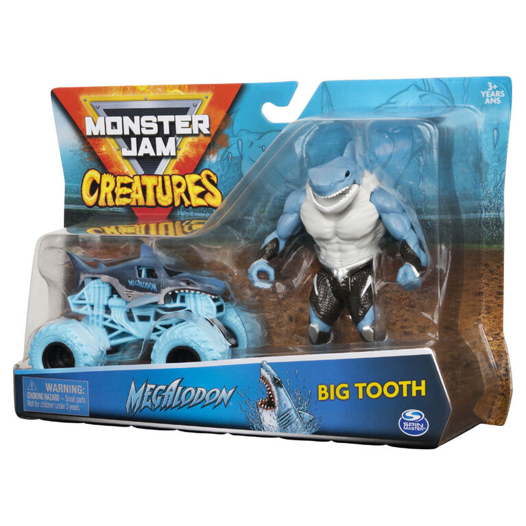 Monster Jam, Coffret Monster truck Megalodon à l'échelle 1:64 officiel et figurine articulée Big Tooth Creatures de 12,7 cm