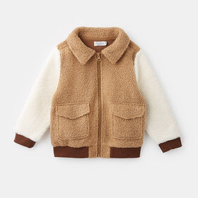 teddy fleece bomber jacket , size 2-3y - Brown