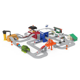 Driven, Pocket Build-A-City (140pc), City Playset with Tracks and Toy Vehicles