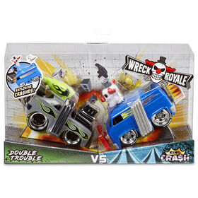Wreck Royale - Exploding Crashing 2-Pack Double Trouble vs. King Cra$h Race Cars with 12 Mix 'n Match Explosive Parts