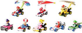 Hot Wheels - Coffret 8 Véhicules Mario Kart avec 3 Ailes