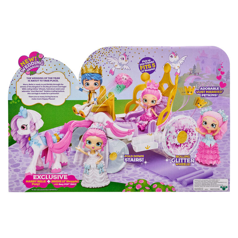 Shopkins Happy Places Royal Wedding Carriage with Pony and Petkins inside