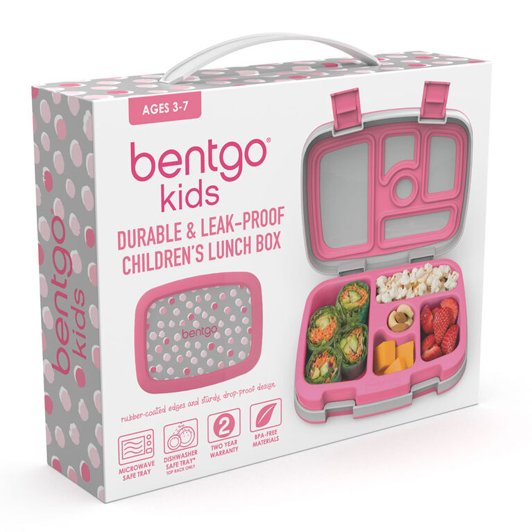 Bentgo Kids Prints Leak-Proof, 5-Compartment Bento-Style Kids Lunch Box - PINK DOTS