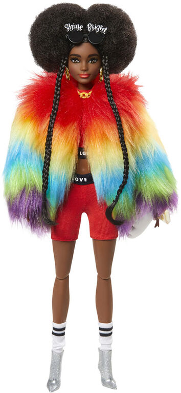 Barbie Extra Doll in Rainbow Coat with Pet Poodle