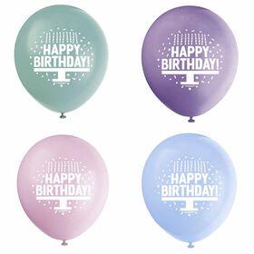 "Pastel Bday Cake 12"" Latex Balloons, 8 pieces - English Edition"