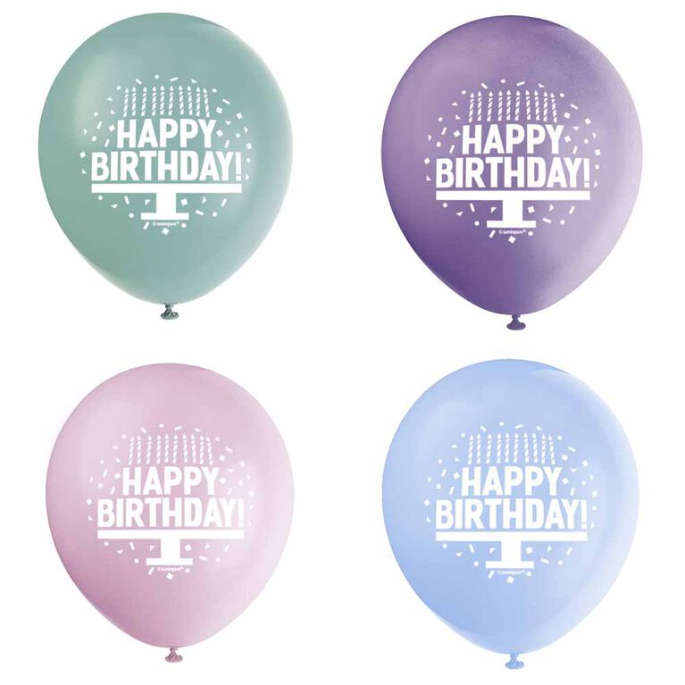 "Pastel Bday Cake 12"" Latex Balloons, 8 pieces - English Edition"
