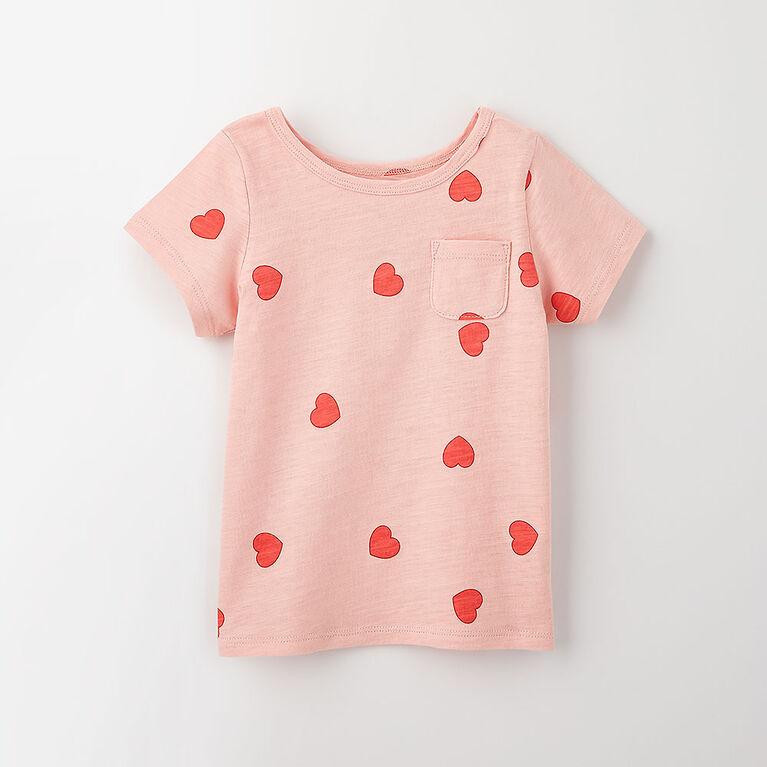 12-18m t-shirt à poche à manches courtes - imprimé rose pâle