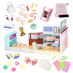 Our Generation, Let It Roll! Bowling Alley, Retro Bowling Alley Playset with Electronics for 18-inch Dolls - English Edition