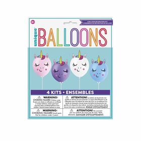 """Make Your Own Unicorn Balloons 12"""", 4 piees"""