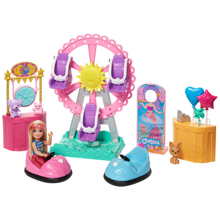 Barbie Club Chelsea Doll and Carnival Playset, Wearing Fashion and Accessories, with Ferris Wheel, Bumper Cars, Puppy and More