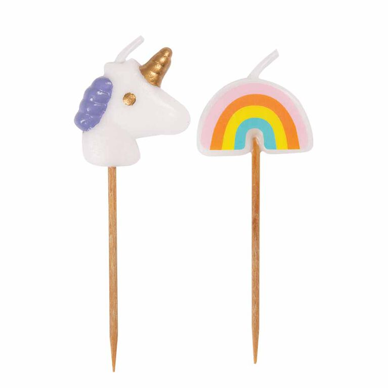 Unicorn Rainbow Bday Candles Assorted Colours 6 pieces
