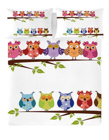 Gouchee Design - Buhos Digital Print Queen Duvet Cover Set - Owls On Branch