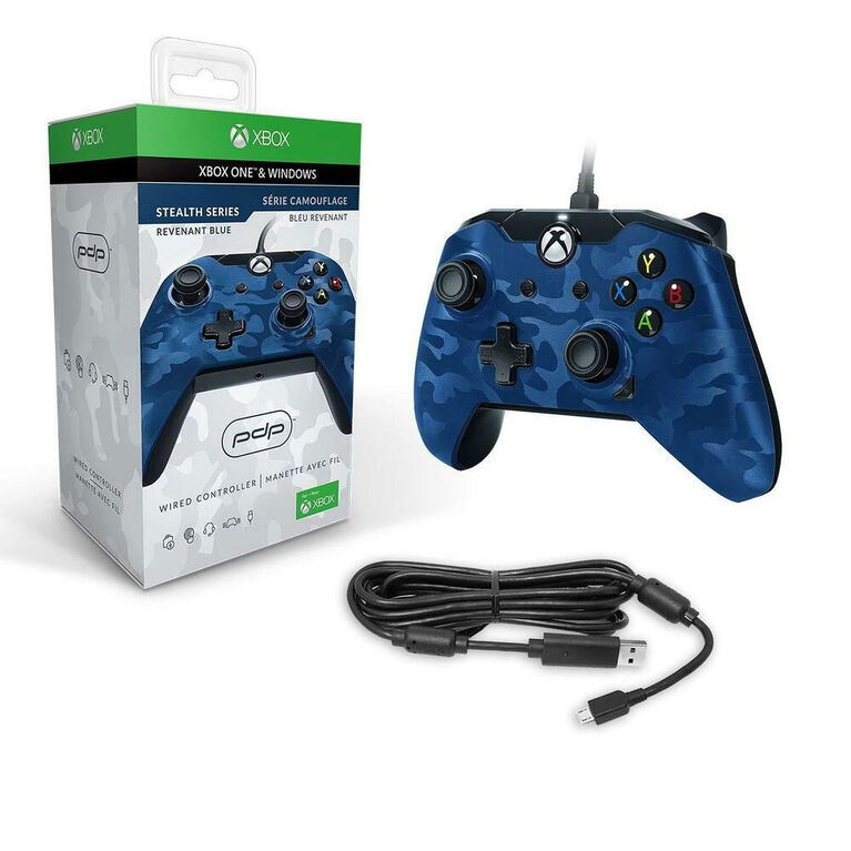 Xbox One Controller Wired Blue Camo