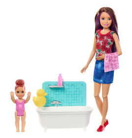 Barbie Skipper Babysitters Inc. Playset with Bathtub, Babysitting Skipper Doll and Small Toddler Doll