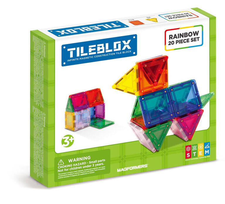 Magformers Tileblox Rainbow 20 Piece Magnetic Construction Set - styles may vary - English Edition